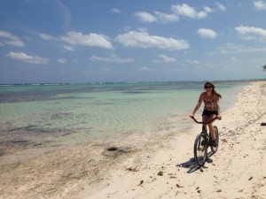 Biking along the beach in Belize, with OJ. Gorgeous!