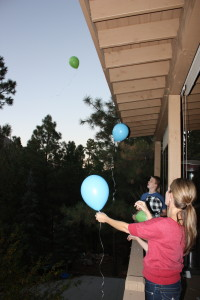 The kids and I, sending balloons to Shannon, on the 5th anniversary of her death.