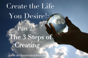 Create the Life You Desire, Part 2- The 3 Steps of Creating, www.drchristinahibbert.com