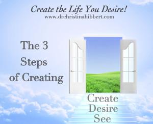 "The 3 Steps of Creating, ""Create the LIfe You Desire, Part 2"", via www.drchristinahibbert.com"