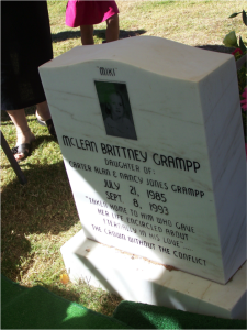 A photo of my youngest sister, Miki's, headstone, taken the day of my sister, Shannon's funeral.