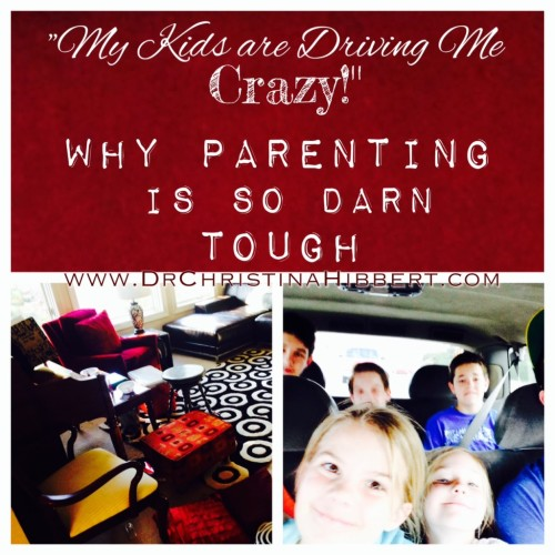 """My Kids are Driving Me Crazy!"" (Again) Why Parenting is so Darn Tough; www.DrChristinaHibbert.com #parenting #motherhood #fatherhood"