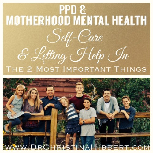 PPD & Motherhood Mental Health: Self-Care & Letting Help In--The 2 Most Important Things (PSI Blog Hop 2014); www.DrChristinaHibbert.com #PPD #postpartum #PSIBlog #motherhood