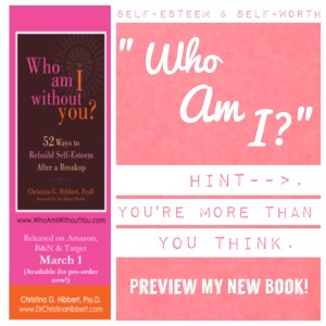 "#SELFESTEEM & #SELFWORTH: ""Who Am I?"" Hint--you're more than you think! (Preview my new book, #WhoAmIWithoutYou!) www.DrChristinaHibbert.com"