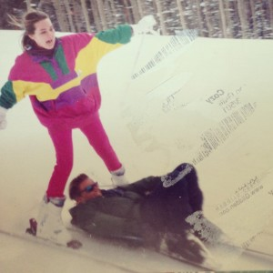 Before we were even dating, we were best friends. This is us, on our first ski trip with my family. Even when I'm scared, he pushes me on. He's been pushing me ever since! (Don't you love my outfit! It was totally rad back then.)