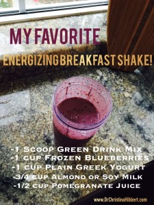 "I never thought I'd be a ""make a shake for breakfast"" kinda gal, but here I am! This mix, coupled w/ daily vitamins, helps me feel so much more energized each day. I use my single-serving Farberware blender (my FAV!), mix, grab, and go! (For more on my fav ""Green Drink"" blend & vitamins, sign up, below!)"