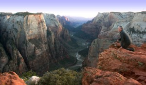 The benefits of hiking--incredible views! Mark Wade, from Zion Ponderosa, at Observation Point. www.ZionPonderosa.com