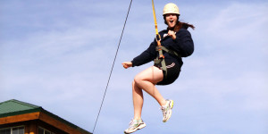 Ziplining? Talk about play! All part of the Women's Adventure Retreat at www.ZionPonderosa.com!