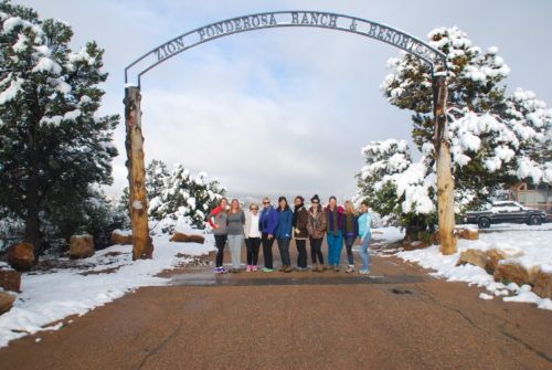 Our fabulous adventure retreat group, outside the entrance to Zion Ponderosa. Beautiful!