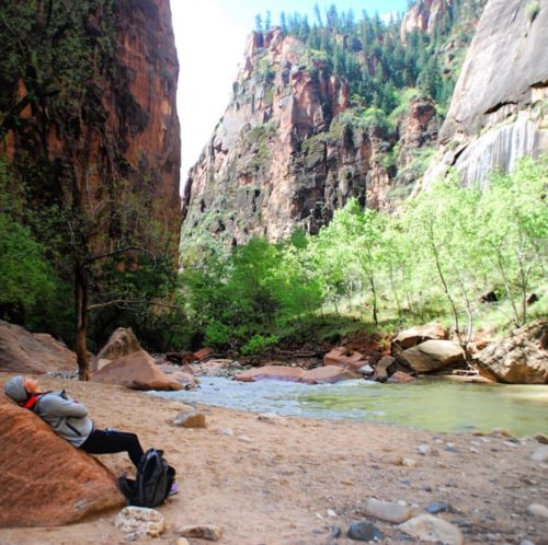 Taking in the wonder of Zion National Park. One of my favorite moments from the Women's Adventure Retreat.