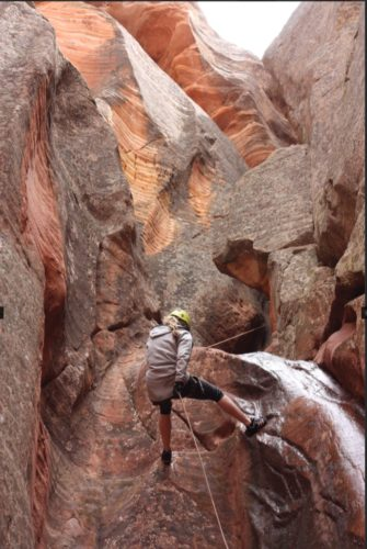 Pushing my limits for sure-repelling down a gorgeous canyon with the Zion Ponderosa Women's Retreat!